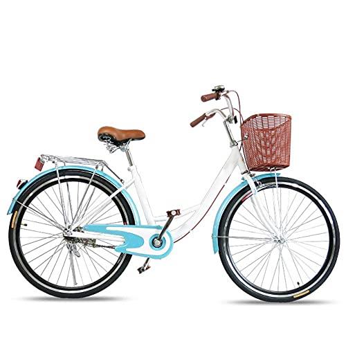 HUAQINEI Bicicleta Mujer 24/26 Pulgadas Scooter Ligero Hombre Ordinario Adulto Estudiante City Lady Bicicleta de cercanías, Negro, 24