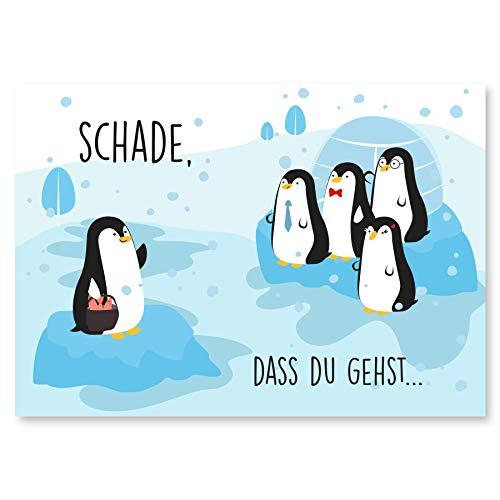 Abschiedskarte Kollegen (Groß A4 XXL Klappkarte) - Glückwunschkarte als Geschenk zur Rente oder Jobwechsel - Karte zum Abschied für Ruhestand - Grußkarte für Kollege oder Kollegin - Pinguin
