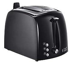 Russell Hobbs Grille-pain Textures+, 2 fentes de pain grillé extra larges, embout de pain et pince à pain intégrée, 6 bronzage réglable + fonction de dégel et d'échauffement, 850W, grille-pain noir 22601-56