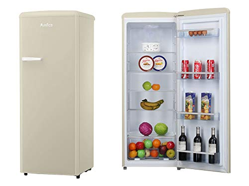 Amica Retro Kühlschrank Beige A++ 241L VKSR 354 150 B Vollraumkühlschrank LED Innenbeleuchtung Creme