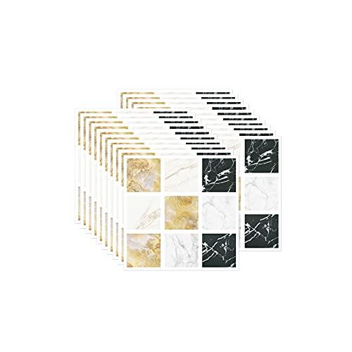 FBBULES 20 Piezas Pegatinas de Pared PVC, Azulejos Adhesivos Resistente Calor Impermeable Protector contra Salpicaduras para Sala Cocina Mosaico Blanco (10 x 10 cm / 4 x 4 Pulgadas)