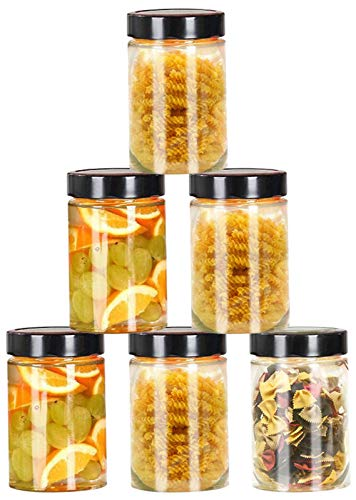 DMFSHI Tarros de Cristal, Botes Cristal con Tapa, 6 PCS Contenedores de Alimentos Herméticos para Almacenamiento, Juego de Botes para Mermelada Té Granos de Café Merienda de Galletas (240 ml)