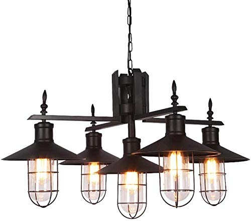 Lámpara de techo vintage industrial, con interruptor, alambre de tela ajustable, 5 candelabros de araña, acabado de latón antiguo, adecuado para cocina o salón