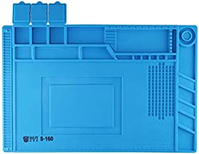 Good -S-160 Heat-resistant BGA Soldering Station Silicone Heat Gun Insulation Pad Repair Tools Maintenance Platform Desk Mat(Blue) Zhaoyy (Color : Blue)