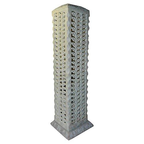Räucherturm aus Speckstein quadratisch 27cm Pflanzenranke Räucherstäbchenhalter Räuchersäule Wohnaccessoire Raumduft Deko