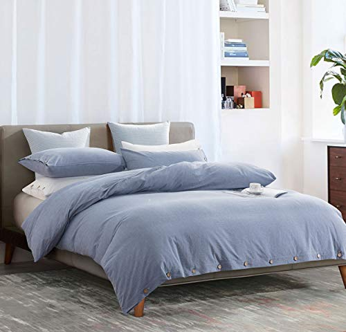 SLEEPBELLA Duvet Cover Set, 3 Pieces Washed Cotton Comforter Quilt Cover with Deco Buttons (King, Denim Blue/Button Style)