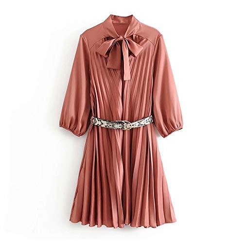 Elegante Geplooide Roze Jurk Vrouwen Vlinderdas Kraag Mini Jurken Riem Dames Een Lijn Chique Feestjurk