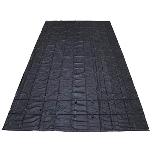 US Cargo Control Heavy-Duty Steel Tarp - 16 Foot x 27 Foot Flatbed Tarp - Black 18 Ounce PVC-Coated Polyester Waterproof Material - Protects Your Flatbed Trailer Cargo from Wind, Snow, Rain, and Sun
