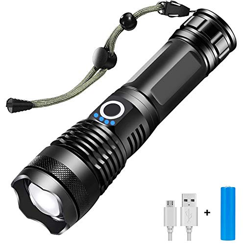Tanouve Linterna LED, Linternas LED Alta Potencia Linterna de Mano 2400lm con 5 Modos de Iluminación/Luz Emergencia/Impermeable/Foco Zoomable para Ciclismo Camping Montañismo