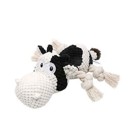Iokheira Spielzeug für Hunde, Interaktives Hundespielzeug, stabiles Quietschende Hundespielzeuge mit Baumwollstoff und Knitterpapier, Kauknochenspielzeug für große und kleine Hunde (Schwarz-Weiß)