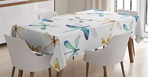 ABAKUHAUS Libélula Mantele, Líneas Regulares Insectos, Fácil de Limpiar Colores Firmes y Durables Lavable Personalizado, 140 x 240 cm, Azul Naranja