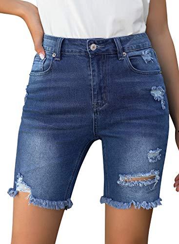 GRAPENT Women's Dark Blue Ripped Denim Bermuda Shorts Distressed Knee Length Stretchy Frayed Raw Hem Pockets Jeans Size X-Large