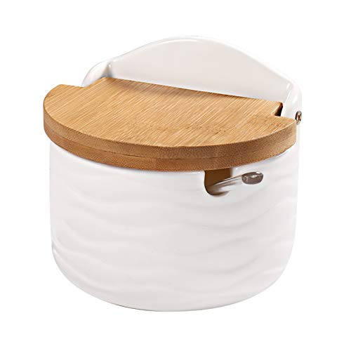 77L Sugar Bowl, Ceramic Sugar Bowl with Sugar Spoon and Bamboo Lid for Home and Kitchen - Modern Design, White, 8.58 FL OZ (254 ML)