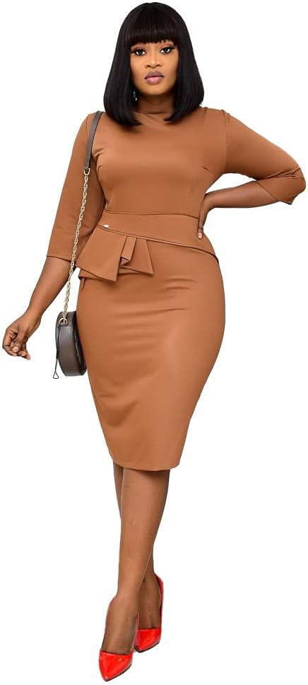 Women Vintage Three-Quarter Sleeve Dress Round Neck Office Pencil Work Business Fashion Dress-Yellow_XXL