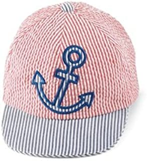 Mud Pie Boathouse Baby Red and Blue Seersucker Baseball Cap, Anchor, 0-12 Months