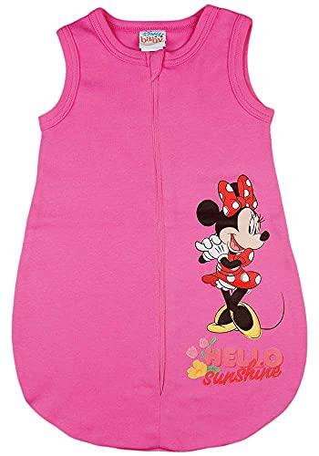 Baby Mädchen ärmelloser Sommer-Schlafsack mit Minnie Mouse Motiv Disney Baby in Größe 56 62 68 74 80 86 92 dünn Baumwolle weiß oder Rosa auch als Geburts-Geschenk (Modell 5, 74)