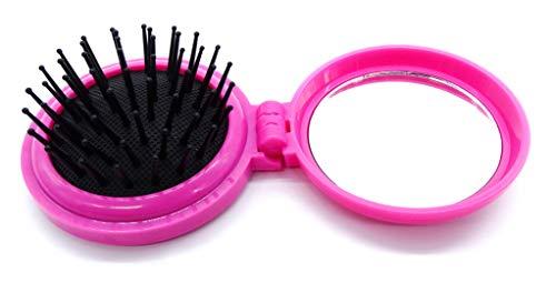 onweerstaanbaar1 Compact Opvouwbare Kleine Haarborstel met een Spiegel Rond in Roze