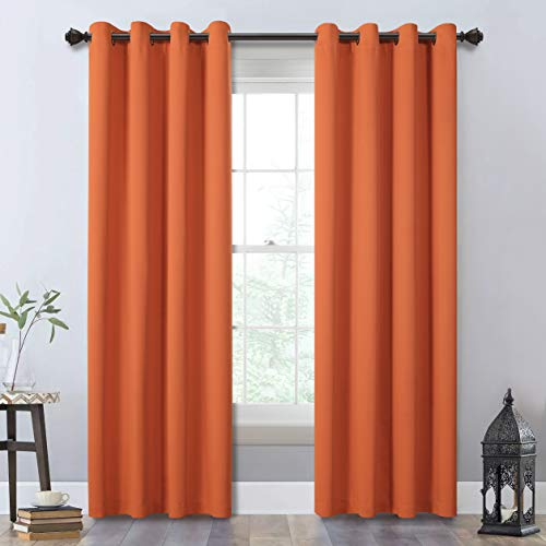 MYSKY HOME Orange Blackout Curtains 84 Inches Long for Bedroom,Thermal Insulated Grommet Room Darkening Window Curtain Panels,1 Pair,52W x 84L