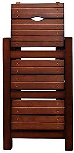 Multifuncional Escalera de Tijera Escalera de madera estable con tres pasos, silla...