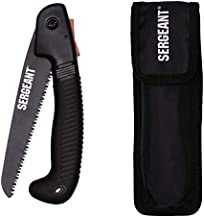 SERGEANT Folding Hand Saw All-Purpose + Carry Case. Best for Wood, Bone, PVC, Tree Pruning, Gardening, Camping, Hunting, Outdoors, Tool Box. Rugged 7