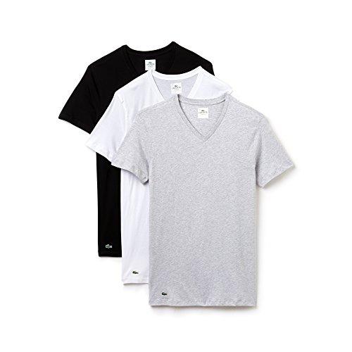Lacoste 3er Pack Herren Unterhemden, American T-Shirts, V- oder Crew Neck, Supima Baumwolle (Weiß/Schwarz/Grau (V-Neck), Small)