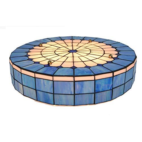 ACHNC Lampara Tiffany Techo Azul,Classic Round Lámpara de Techo Vintage para Sala de Estar Dormitorio Cocina Comedor E27 Plafon Techo Salon Luz de Techo Baño con Pantalla Tiffany Handmade, 50CM