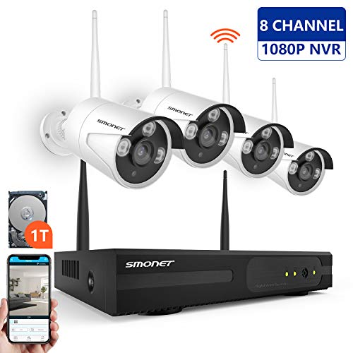SMONET Wireless Security Camera System,1080P 8 Channel Video Security System(1TB Hard Drive),4pcs...