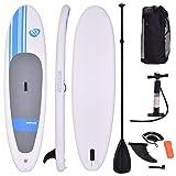 COSTWAY Tavola da Surf Gonfiabile Stand Up Paddle, Gonfiaggio e Sgonfiaggio Rapido, con Pompa Zaino e Leash Inclusi, 305 x 76 x 15 cm