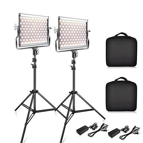 Rabther Luz de Video LED para trípode, Ajuste de iluminación de Youtube, iluminación de fotografía 3200K-5600K Bicolor, Maquillaje de Blog de Video, fotografía de luz Suave portátil Luz de Video
