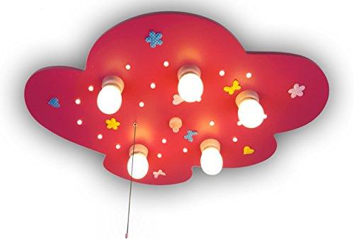 Niermann Standby Deckenleuchte Wölkchen, Blumenwiese, magenta mit LED-Schlummerlicht 760