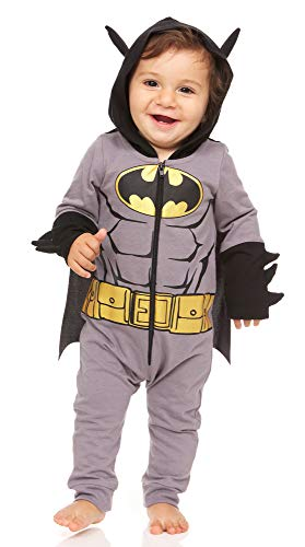 DC Comics Baby Boys' Batman Costume with Goldtone Icon Belt 3D Ear and Spikes, Grey/Yellow/Black, 24 Months