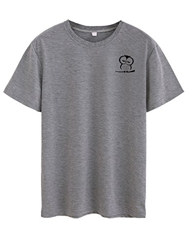 "Neo Garments Women's Cotton T Shirt - Baby Owl (Grey, L (Chest:36"",Length:26"",Shoulder:15.5""))"