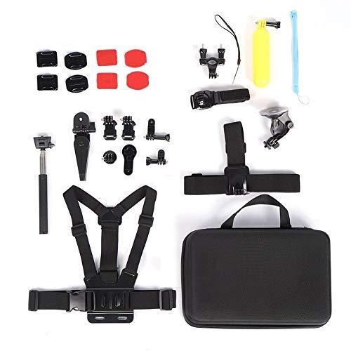 Set di accessori per action cam, cinturino pettorale multifunzionale 17 in 1 portatile e fibbia J-Hook Set di action cam per selfie con attacco per impugnatura per bicicletta per sci alpinismo Escursi