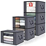 Fab totes 6-Pack Clothes Storage, Foldable Blanket Storage Bags, Storage Containers for Organizing Bedroom, Closet, Clothing, Comforter, Sweater, Organization and Storage with Lids and Handle, Grey