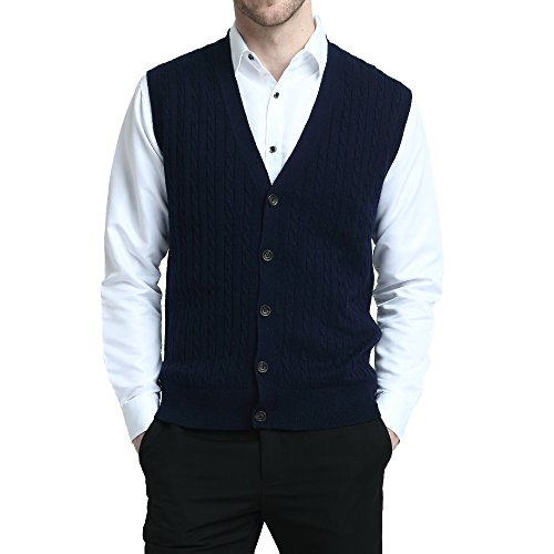Kallspin Relaxed Fit Mens Cable Stripe V Neck Vest Sweater Cashmere Wool Blend Front Button (Navy Blue, L)