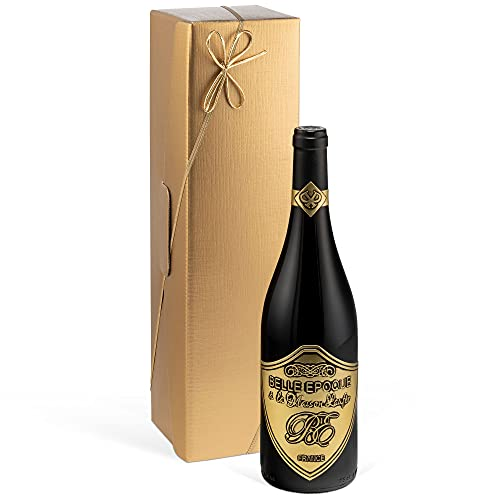 Luxus Weingeschenk für Bordeaux-Liebhaber | Belle Epoque á la Maison Laufèr Rotwein (0,75L) im Geschenk Set gold (Frankreich) Syrah im Eichenholzfass gereift