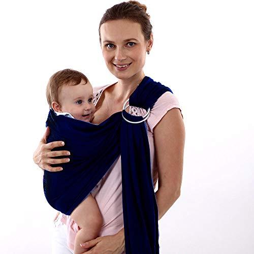 LOVEQIZI Porte-bébé Ring Sling - Tissu de Bambou et de Lin Extra-Doux - enveloppe légère - pour Nouveau-nés, bébés et Enfants en Bas âge - Un Cadeau Parfait pour Une fête de Naissance - Beau Tissu,A