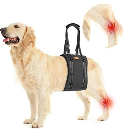 Dog Lift Harness Pet Sling Support - Dog Lifting Harness Vest for Rear Legs with Reflective Band Adjustable Straps Detachable Fleece for Medium Large Dogs All Season Available