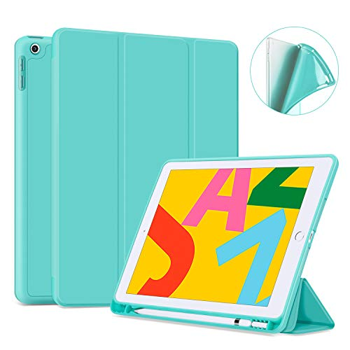 Ayotu Soft Case for New iPad 7th Generation 10.2' 2019, Auto Sleep/Wake Slim Lightweight Trifold Stand Case with Pencil Holder,Soft TPU Back Cover for Apple iPad 10.2 inch 2019 Version,Mint Green
