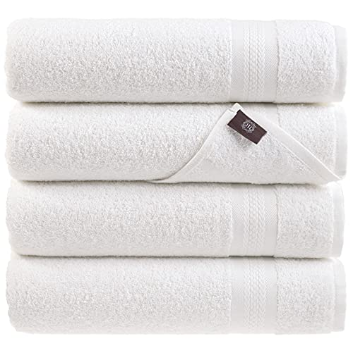 REGAL RUBY White Bath Towels Quick-Dry High Absorbent 100% Turkish Cotton Lightweight Towel for Bathroom, Guests, Pool, Gym, Camp, Travel, College Dorm, Shower