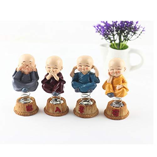 Pevfeciy 4 Stücke Kleine Mönch Figuren Dekofiguren für Auto, Tischdeko,Reichtum Glück Figur Home Buddha Dekor Geschenk,Multi Colored