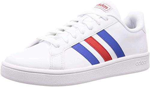 adidas Herren Grand Court Base Sneaker, Cloud White/Blue/Active Red, 45 1/3 EU