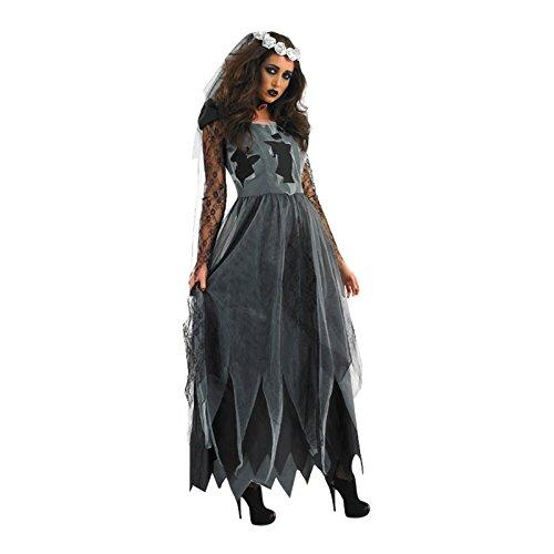 Anladia Damen Braut Kostüm Geisterbraut Zombiebraut Braut Kleid Horror Kostüm Halloween XL