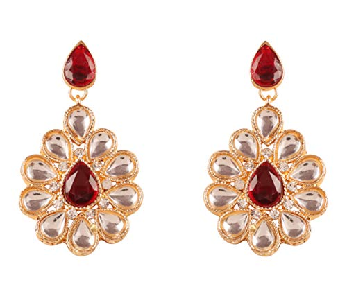 Touchstone New Indian Bollywood Pretty Traditional Kundan Polki Look Faux Ruby Designer Jewelry Earrings in Gold Tone for Women.