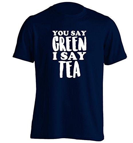 You say green I say tea!   Unisex T-Shirt   S bis 2XL   Flox Creative Gr. Large, marineblau