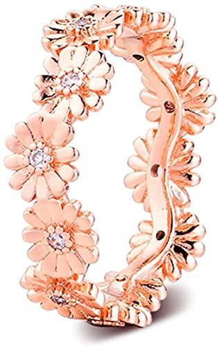 LGUC Primavera Rosa Brillante Marguerite Flor Anillo de Corona para Mujeres 925 DIY Silver Adecuado para Pandora Pulseras Originales Joyería de Moda de Encanto (54#)