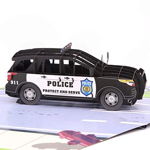 Liif Police Car 3D Greeting Pop Up Father's Day Card, Happy Birthday, Police Academy Graduation, Retirement, Congratulations, Cop, Police Officer Gifts