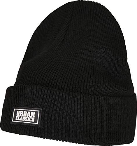 Urban Classics Unisex Plain Stitch Recycled Yarn Beanie-Mütze, Black, one Size