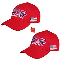 2 PACKS! 2 PACKS-100% Cotton, high-quality, comfortable Trump hat, especially suitable daily hat-wearing for Trump 2020 re-election in this hot summer. Get the Trump 2020 hat with Keep America Great worn by Donald Trump One size fits all, unisex, tru...
