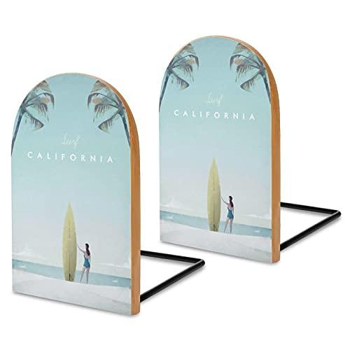 Fermalibri in legno Sapele per Surfing Viaggi California per Mensole, Fermalibri per Scrivania da Ufficio, Antiscivolo, per Libri, Filmati, DVD, Portadocumenti 13 x 8 x 4,1 cm